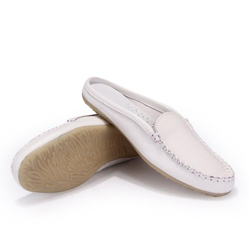 dd1b20596236 2015 New Arrival Lady Round Toe Casual Flat Genuine Leather Semi Slipper