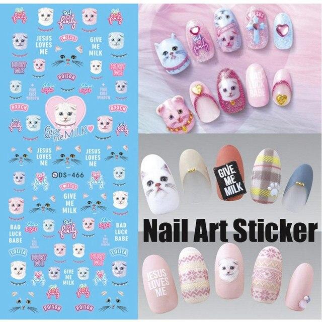 Nails Art Sticker Decals Lolita Lovely Cat Give Me Milk Scottish ...