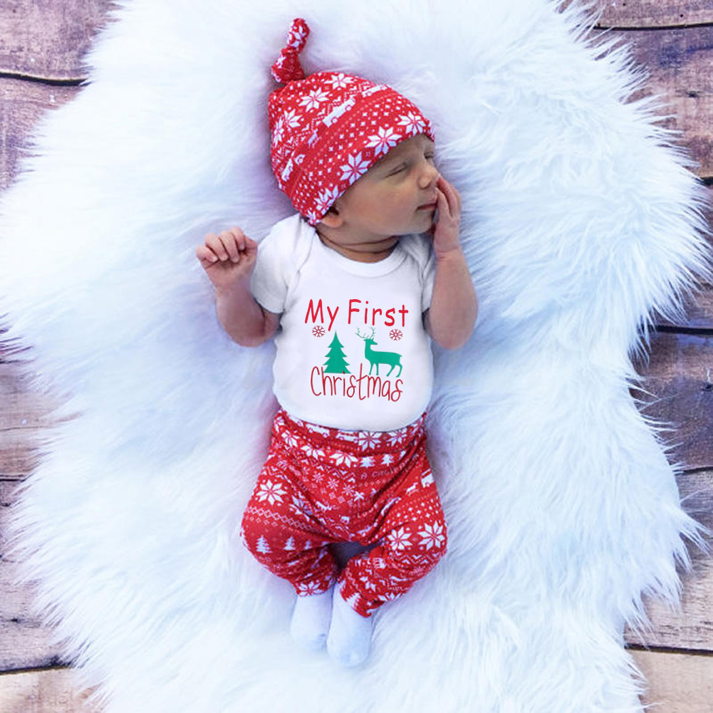3pcs Cute Newborn Clothing Set Baby Boy Girls First Christmas Clothes Infant Romper Pants Hat Outfit 3pcs set newborn girls christmas clothes set warm hat letter print romper love arrow print pants leisure toddler baby outfit set