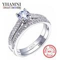 SONA de Noivado de Diamante CZ Anéis Conjunto de 925 Anéis de Prata Esterlina Para Mulheres Banda Anéis de Promessa Anéis de Casamento Jóias De Noiva AR131