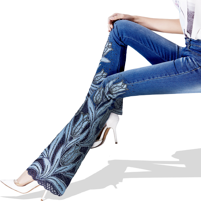Corte Mujeres Azul Primavera Denim Lujo Las De Tulipanes Jeans Mujer Pantalones Bordado Bota Encaje Cordón Vaqueros qqPwHCRE