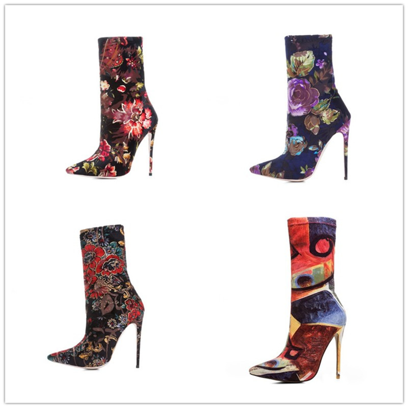 2018 European and American style new boots elegant queen style pointed toe 12cm thin heel floral slim elastic lady's half boots вьетнамки slim floral