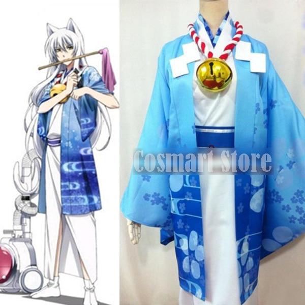 [Customize]Anime Gugukoku figure Fox Gokurisan Blue Kimono Suit Uniform +Big Bell+Ears Halloween Cosplay costume For Adult