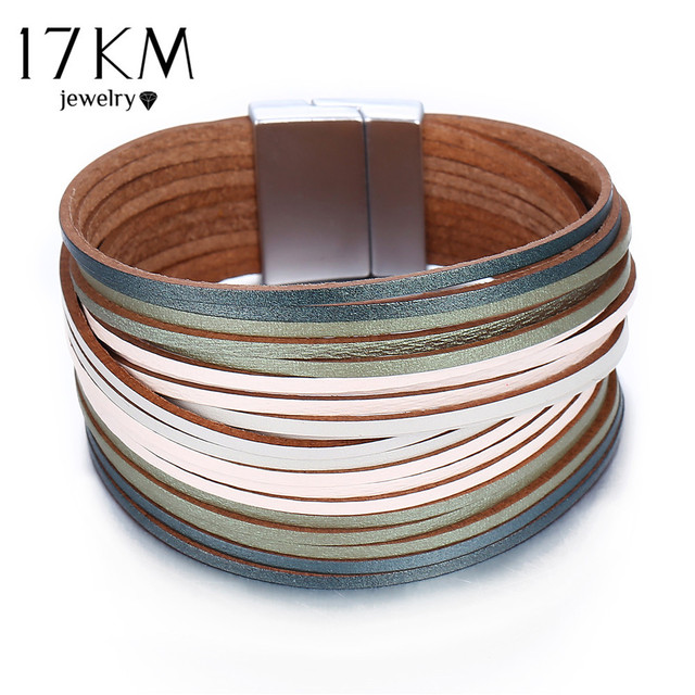 17KM 3 Color Fashion Leather Wrap Bracelet For Women Men Multiple Layers Charm Bracelets Couples Pulsera Mujer Basics Jewelry