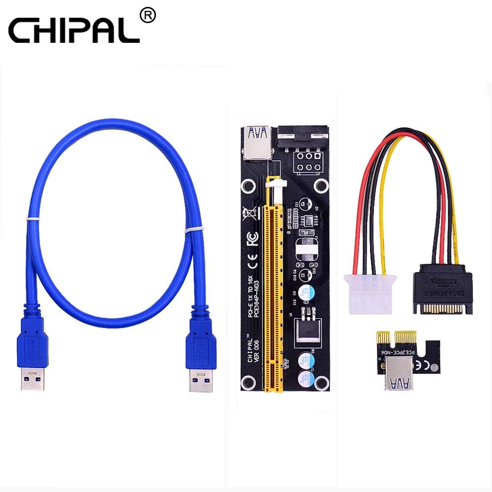 CHIPAL VER006 PCI Express PCI-E Райзер-карта PCIE 1X до 16X 60 см USB 3,0 кабель SATA к 4Pin питание для майнинга биткоинов