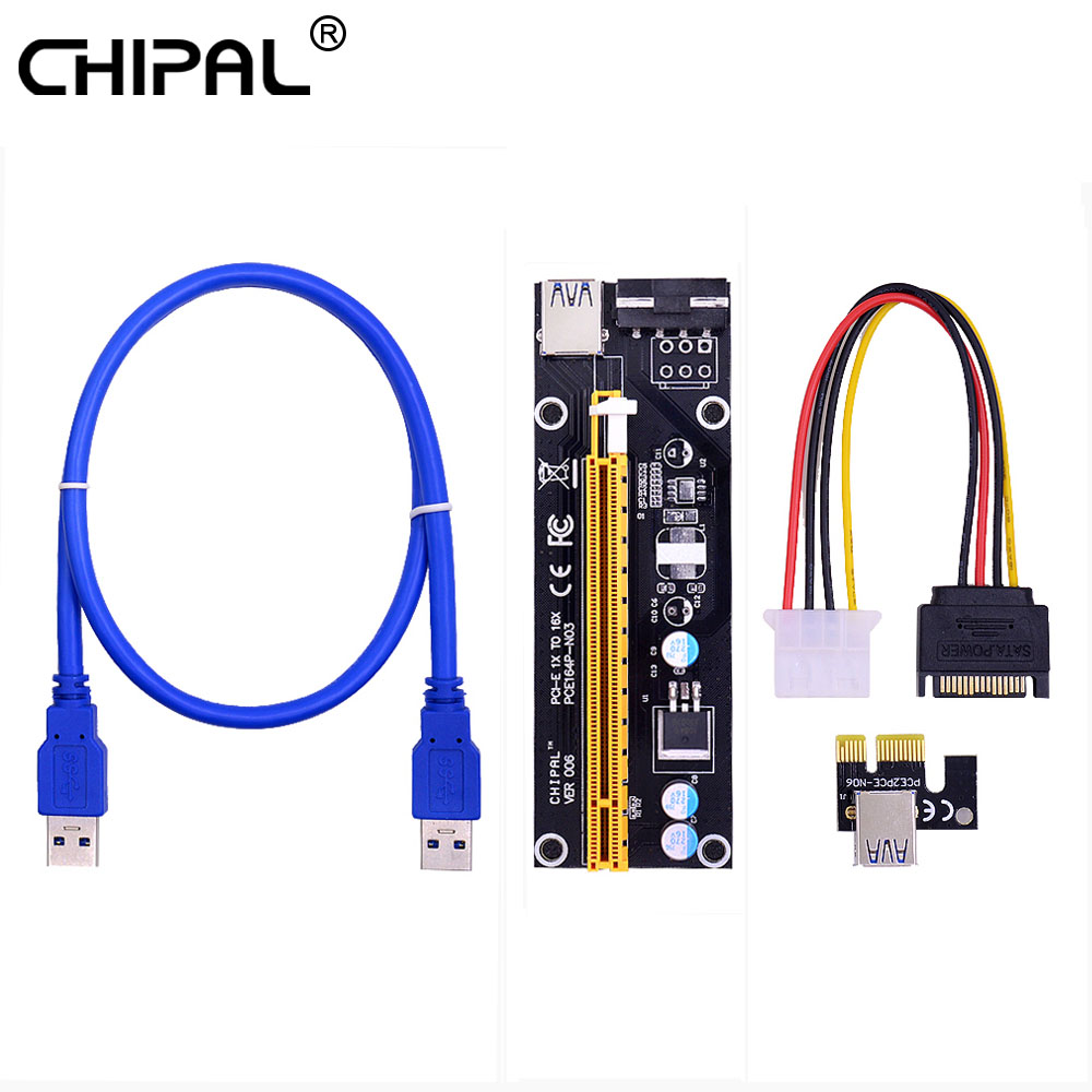 Chipal ver006 pci express pci-e riser cartão pcie 1x a 16x 60cm usb 3.0 cabo sata para 4pin alimentação para mineração de mineiro bitcoin