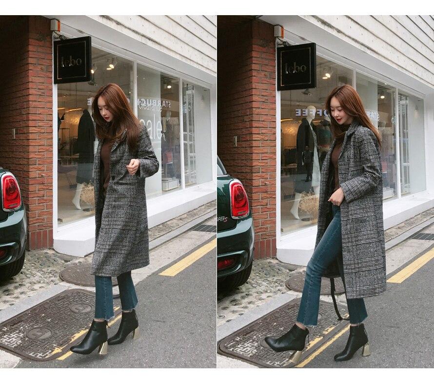 19 Spring Autumn Women's Wool Plaid Coat New Fashion Long Woolen Coat Slim Type Female Winter Wool Jackets Female Outw 15