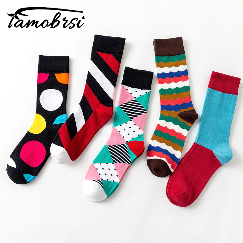 2018 Geometry Style Fashion Socks Short Female Funny Cotton Socks Women Winter Fall Men Unisex Happy Short Lady Socks Male Sox