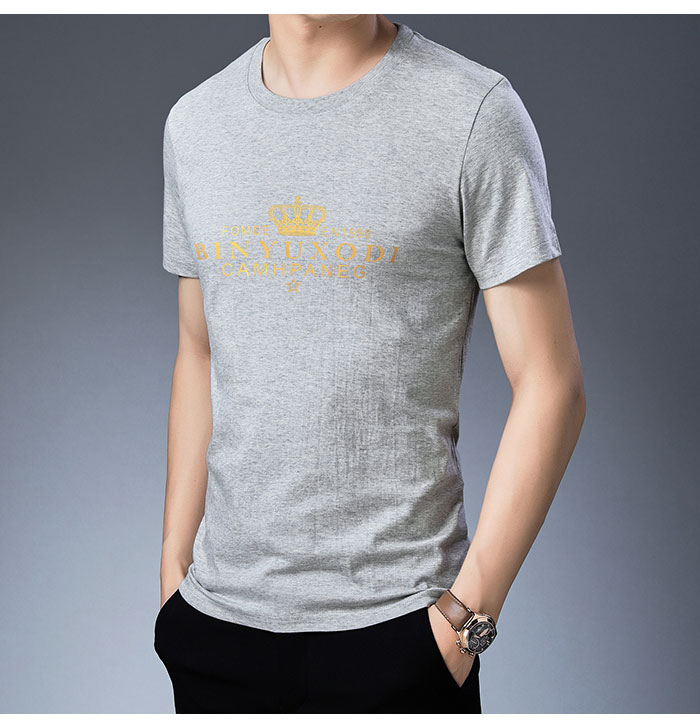 Baishanglinna Spring Summer Short Sleeve Tee Shirt Men Casual O-Neck T-Shirt Men Pure Cotton Top Homme Brand Clothing S - XXXXL 12
