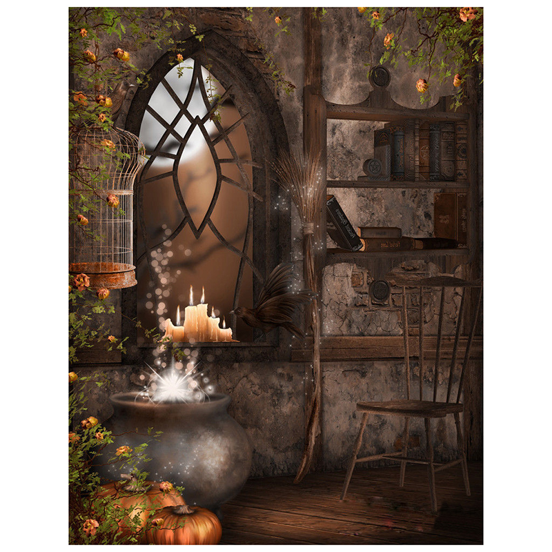 Halloween Thin 5X7FT Vinyl Studio Backdrop Photography Photo Background thin vinyl vintage book shelf backdrop book case library book store printed fabric photography background f 2686