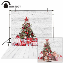 Allenjoy photography backdrop Christmas tree decorations brick wall gift backgrounds for photo studio photocall photobooth props
