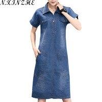 N XINZHE 2017 Summer Denim Dress Women Vintage Turn Down Collar Short Sleeve Pockets Jeans Dresses