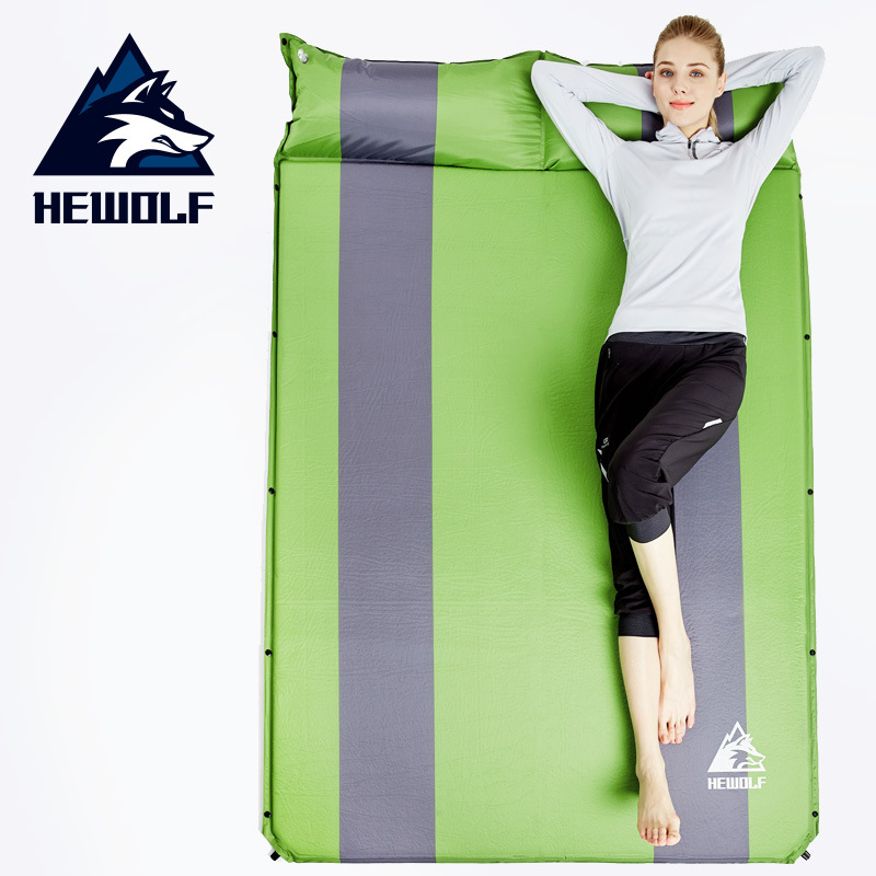Hewolf 2 Persons Camping Sleeping Mat Can Splicing Automatic Inflatable Cushion Sleeping Mat Dampproof Outdoor or Indoor Break creeper bl q001 convenient outdoor self inflation dampproof dacron air cushion mat camouflage