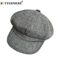 BUTTERMERE Ladies Newsboy Caps Linen Grey Hats For Women Retro Painter Octagonal Hat Summer Female Solid Duckbill Hats And Caps