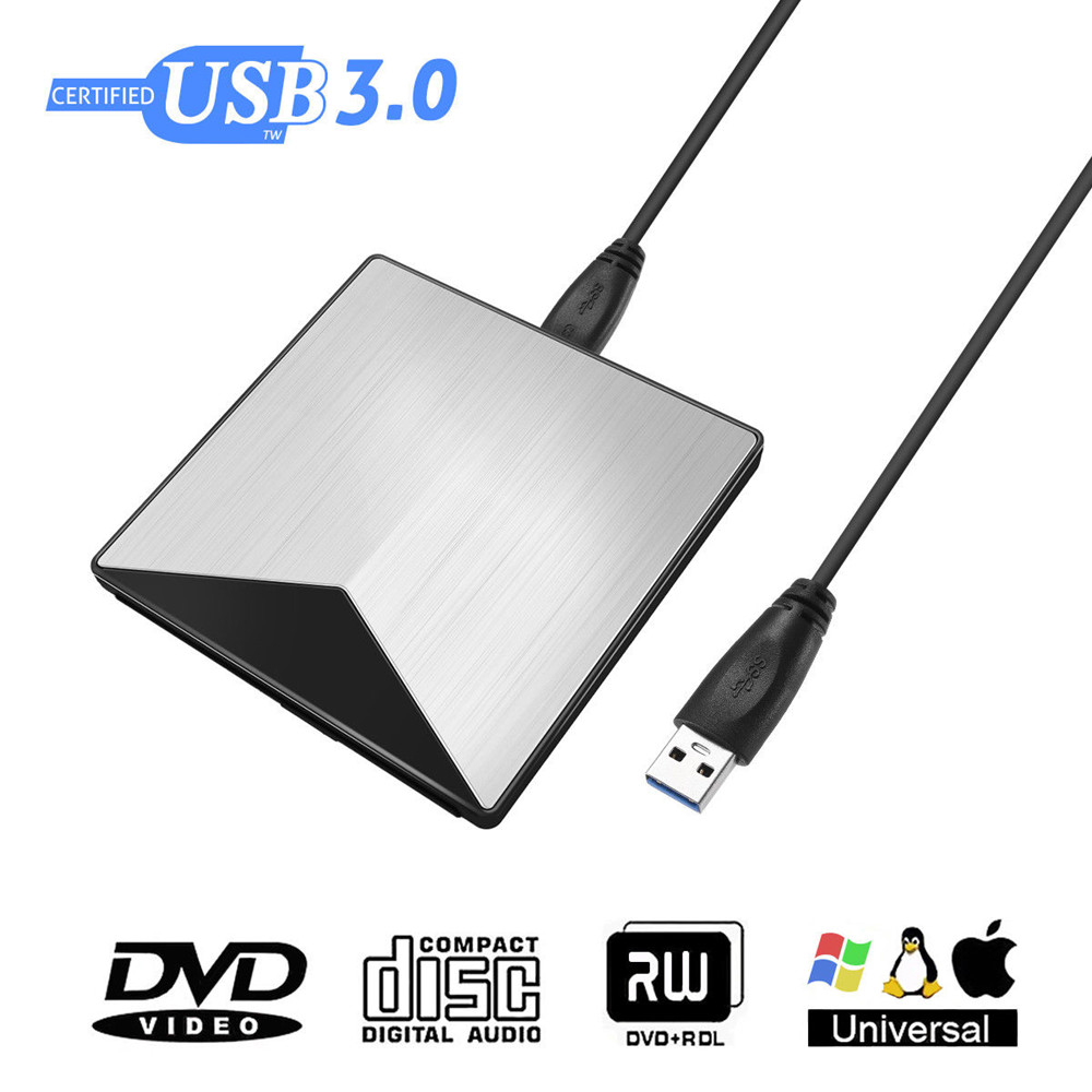 External Aluminum Optical DVD Drive USB 3.0 CD DVD +/-RW Burner Rewriter Player For Laptop Desktop PC Support Windows Mac OS