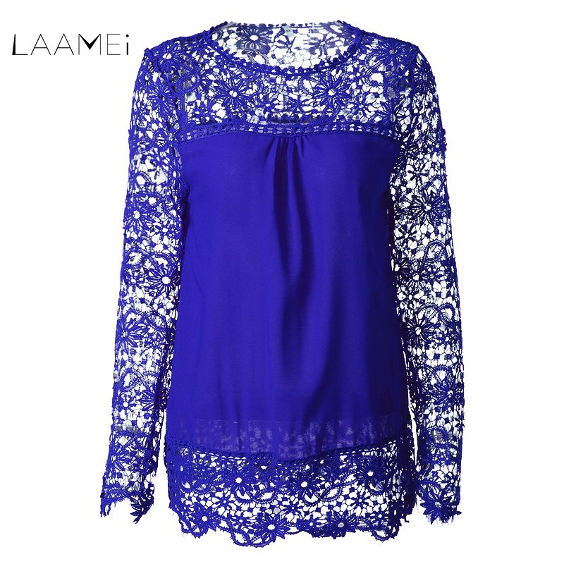 Laamei S-7XL Plus Size Chiffon   Blouses     Shirt   Fashion Women's Lace Print Long Sleeve   Shirt   Spring Crochet Tops Blusas Fashion Top