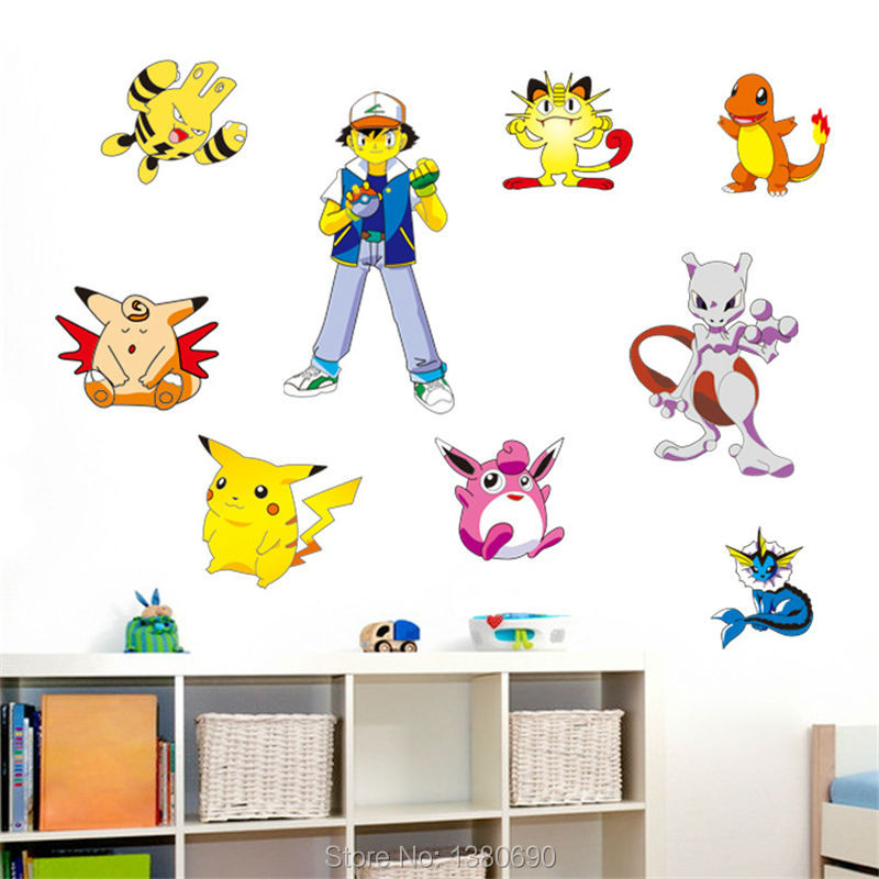buy 2016 new pokemon go wall stickers for kids rooms home decorations pikachu. Black Bedroom Furniture Sets. Home Design Ideas