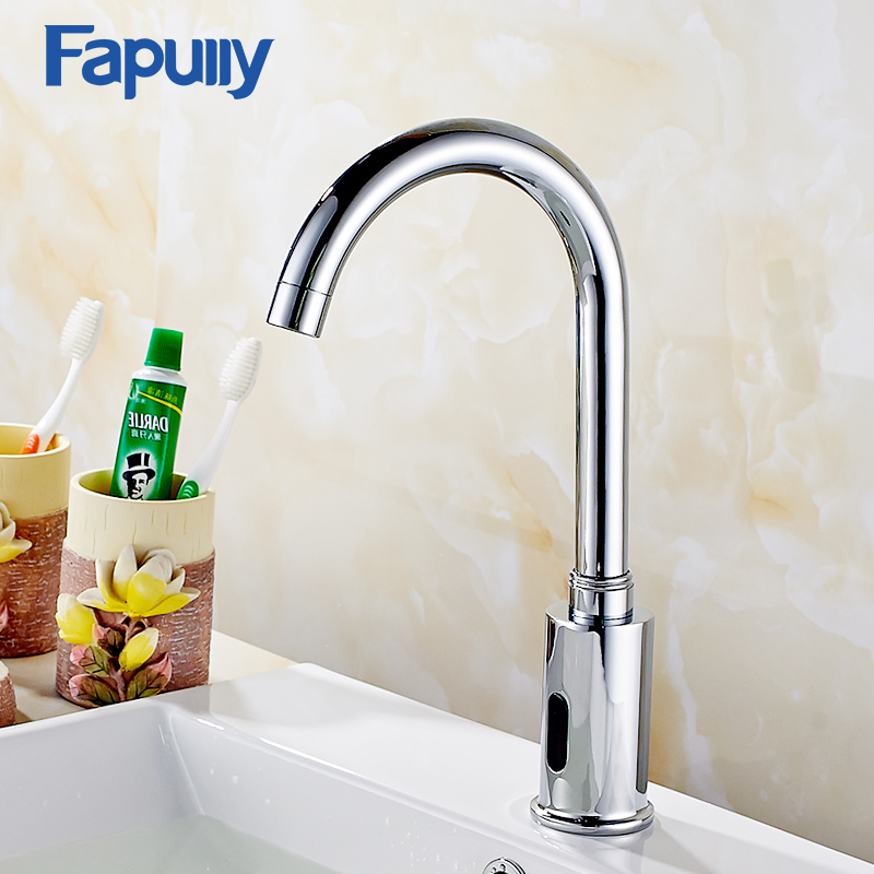Fapully Chrome Bathroom Basin Faucet Infrared Sense Water Faucet Automatic Hands Touch Free Sensor Faucet Bathroom Sink Tap fapully bathroom waterfall basin faucet deck mounted automatic hands touch sensor water faucet waterfall sink tap