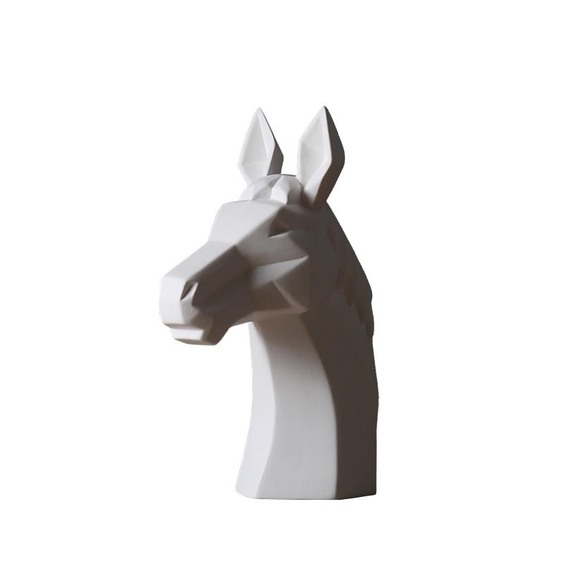 white ceramic rhinoceros horse bull deer head sculpture home decor crafts animal head model porcelain art decoration figurine