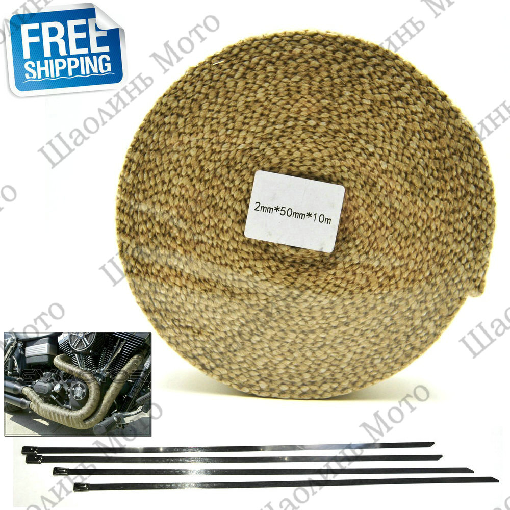 Beige CAR MOTORCYCLE Incombustible Turbo MANIFOLD HEAT EXHAUST THERMAL WRAP TAPE & STAINLESS TIES 2mm*50mm*10m FREE SHIPPING