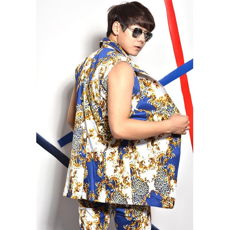 (Gilet + pantalon) homme gilet costume discothèque bar scène costumes slim 2 pièces ensembles chanteur bal spectacle hip hop jazz DS performance vêtements-in Ensembles homme from Vêtements homme    3