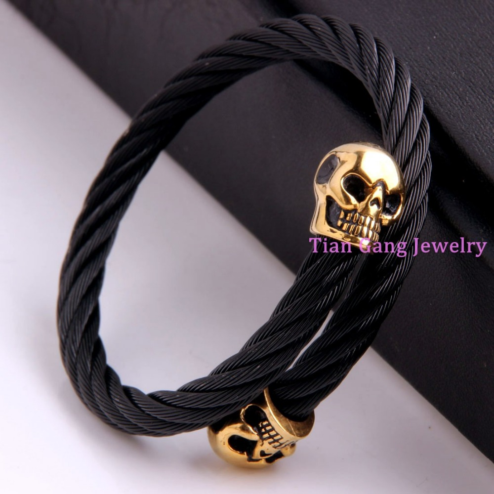 Cool Punk Gothic Wire Cable Mens Black font b Gold b font Skull End font b