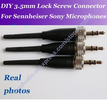 3pcs DIY 3.5mm 1/8 Stereo Screw Lock Connector for Pro Sennheiser Sony Microphone