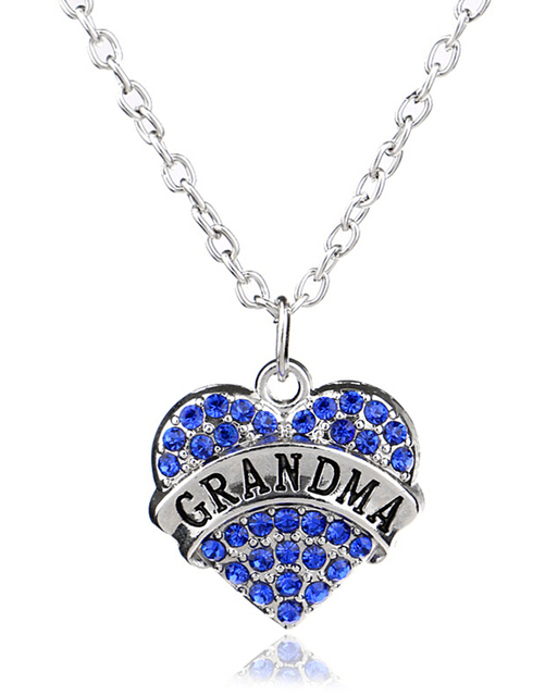 Clear blue pink crystal heart engraved grandma pendant necklace clear blue pink crystal heart engraved grandma pendant necklace family member jewelry christmas gifts for grandma aloadofball Image collections