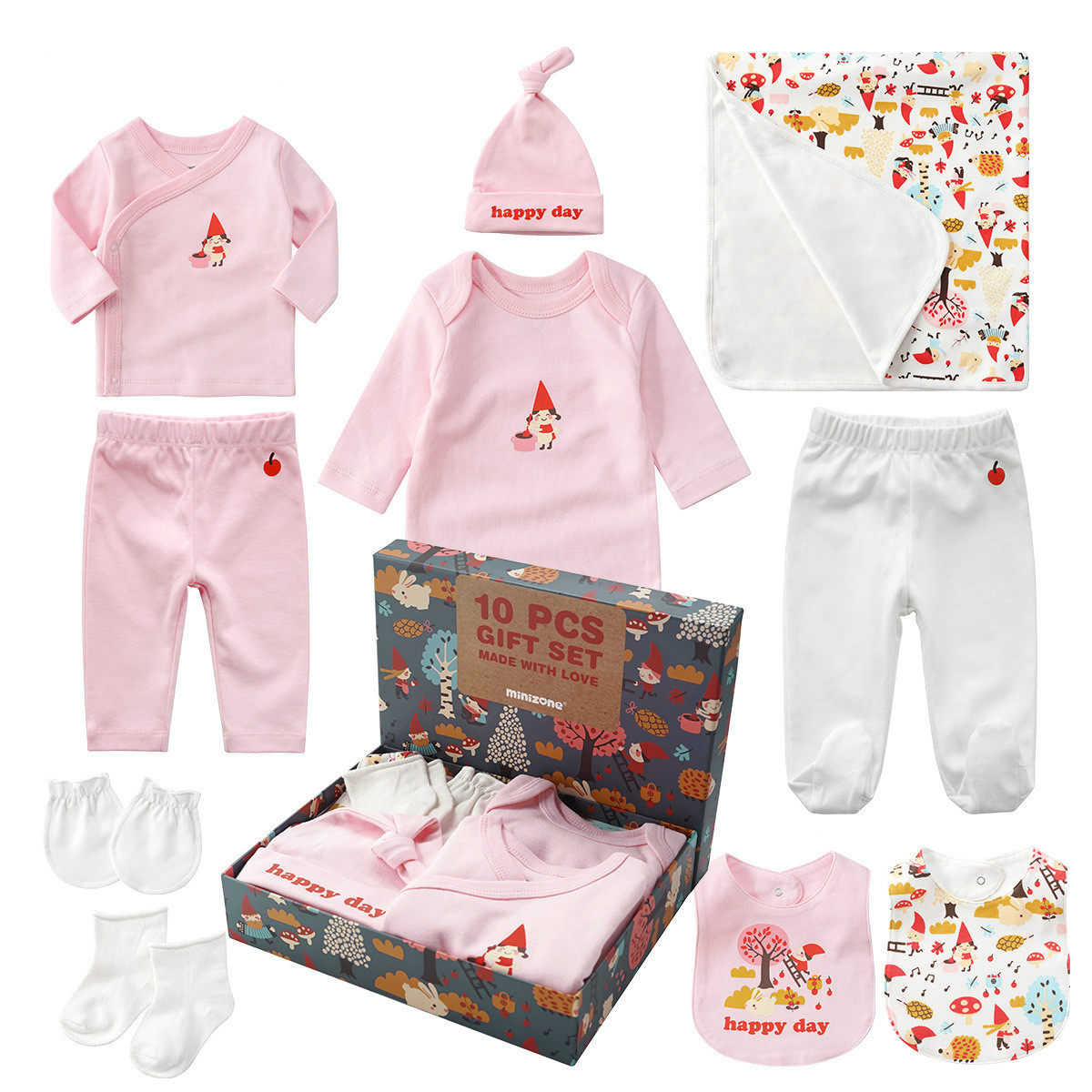 10pcs Newborn Unisex Baby Gift Box Cute Cartoon Girls Sets Pure Cotton Full Moon Baby Gift Christmas Boy Clothing Set Outfits 10pcs baby products boy and girls full moon fashion sets spring and autumn baby best gift newborn baby clothes unisex set cotton