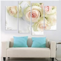 Hot Sell 4 By The White Rose Flower Big Hd Picture Of Modern Home Decor Wall