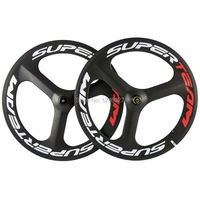 Fixed Gear Superteam Carbon Wheelset Tri Spoke Wheel 70mm Clincher Carbon Wheels Road Bike Track Bike 3 Spoke Wheel