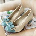Spring shoes female bow thick heel high-heeled shoes plus shallow mouth shoes single shoes
