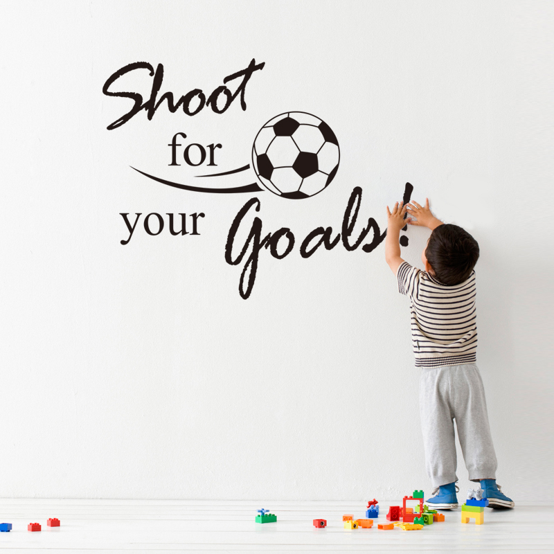 Shoot For Your Golas inspiration quote words home decor wall sticker boys kids room Football decoration sports game party poster