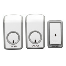 CACAZI wireless doorbell AC 110-220V  350M remote door bell 48 chimes 6 volume door ring 1 waterproof button+2 plug-in receivers
