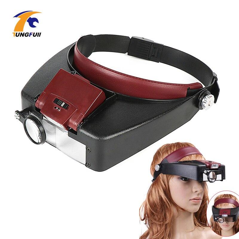 Lupa microscópio led luz 10x capacete estilo lupa de vidro faixa lupa lupas com luz leitura ou reparação uso