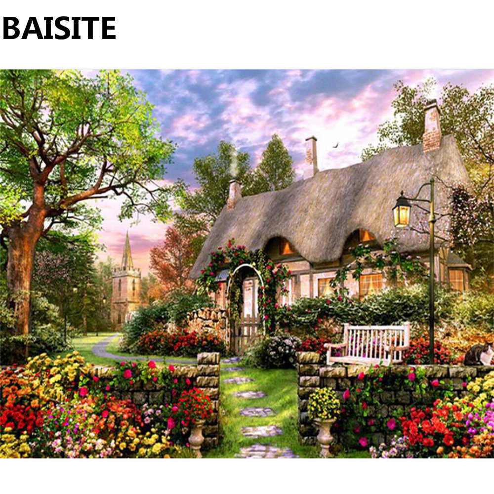 BAISITE DIY Framed Oil Painting By Numbers Flowers Pictures Canvas Painting For Living Room Wall Art Home Decor Y5388