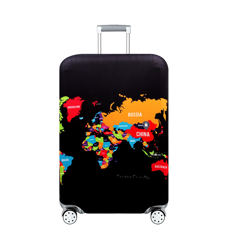 World Map Travel Luggage Suitcase Protective Cover For Trunk Trolley Baggage Case Apply To 19''-32'' Suitcase Cover Elastic 272