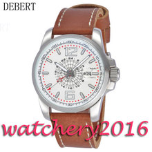 Luxury 44mm Debert white dial GMT date window stainless steel case Automatic movement men's Watch