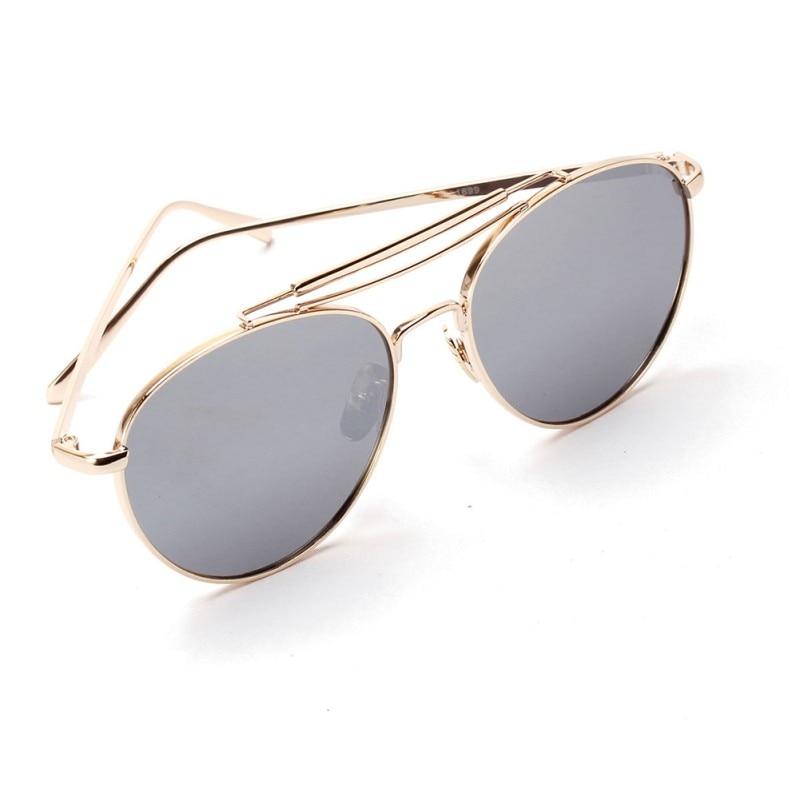 ₩Women Round Shaped Metal Frame Sunglasses Hot Men Mirror Lens ...