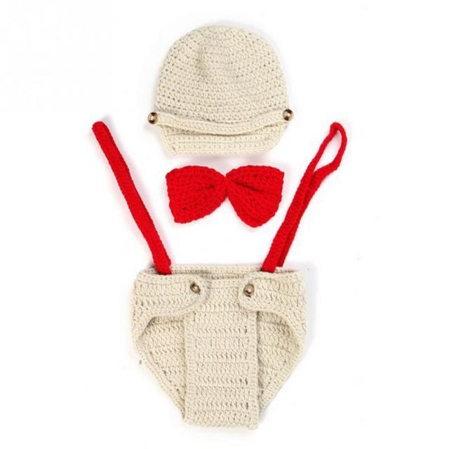 Recién Nacido bebé hecho a mano de punto accesorios de fotografía conjunto traje bebé niña/Niño Accesorios paño crochet arco sombrero traje