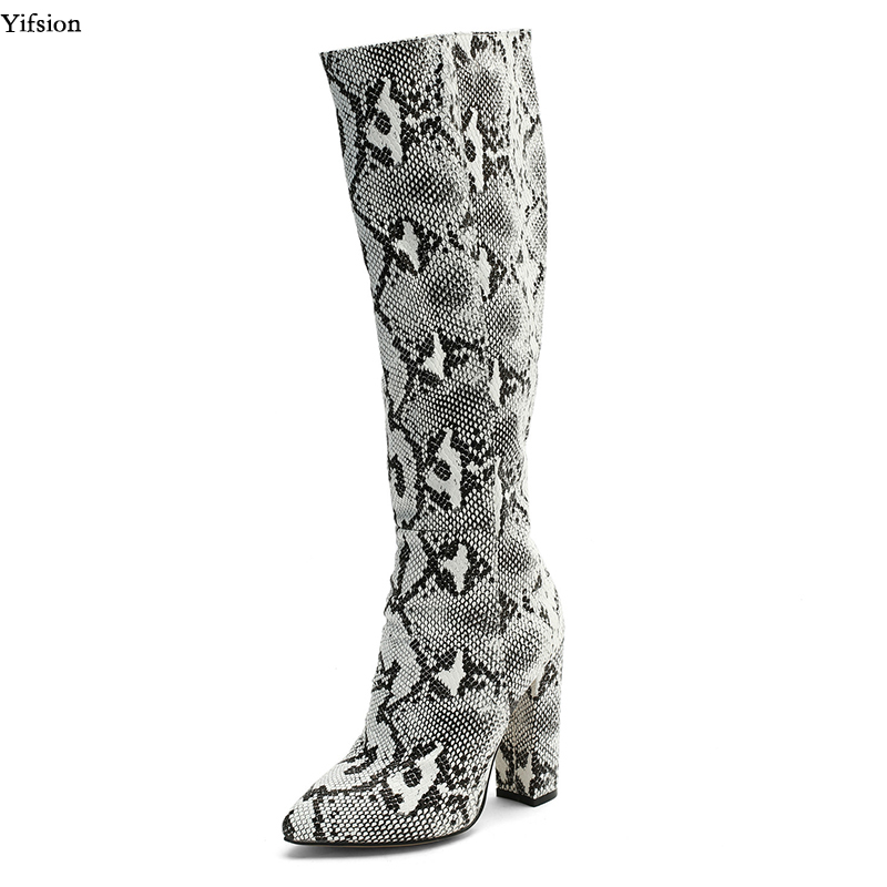Yifsion New Stylish Women Spring Knee High Boots Sexy Square High Heels Boots Pointed Toe Black Shoes Women Plus US Size 4-15Yifsion New Stylish Women Spring Knee High Boots Sexy Square High Heels Boots Pointed Toe Black Shoes Women Plus US Size 4-15
