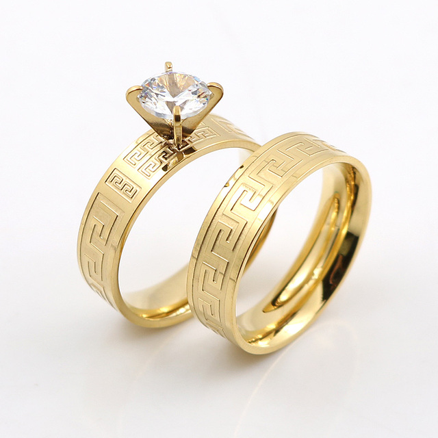 Elegant Gold Great Wall Design Wedding Rings for Couple Lover Rings