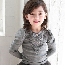 Free Shipping Children s T shirt 2017 Spring and Autumn Fashion Lace Decorative Long Sleeve bow