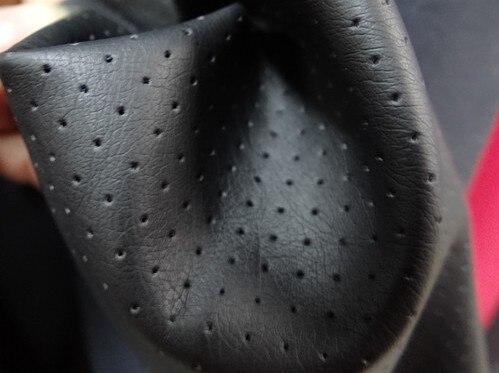 Оптовая черный коричневый перфорированная кожа Pu моделирования ткани/PU кожа ткань Ширина: 1.45 м A001