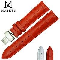 Maikes折りたたみバックル時計バンド14ミリメートル16ミリメートル18ミリメートル20ミリメートル22ミリメートルレッド本物のカーフレザー時計ストラップ用女