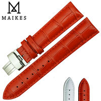 MAIKES Folding Buckle Watch Band 14mm 16mm 18mm 20mm 22mm Red Genuine Calf Leather Watch Strap