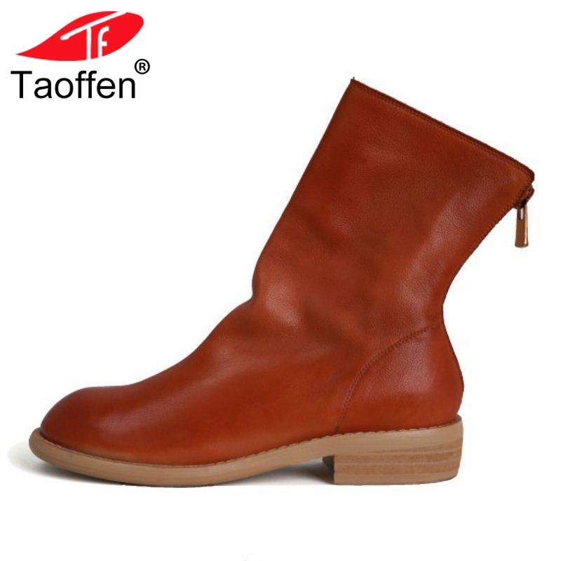 TAOFFEN 6 Colors Woman Flats Boots Real Leather Round Toe Zipper Women Mid Calf Boots Concise Short Woman Boots Size34-40 new vintage zipper manual sewing height increasing round toe platform 2 colors real leather mid calf boots women casual shoes