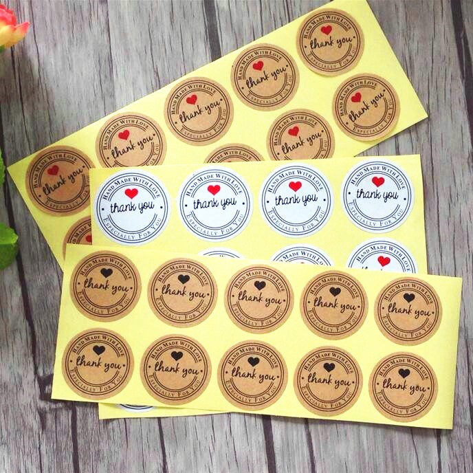 100 Pcs Thank You Love Self Adhesive Stickers Kraft Label Sticker Diameter 3.5cm For Diy Hand Made Gift Cake Candy Paper Tags matte white a4 kraft paper self adhesive square print label stickers library book shipping labels for laser inkjet printer
