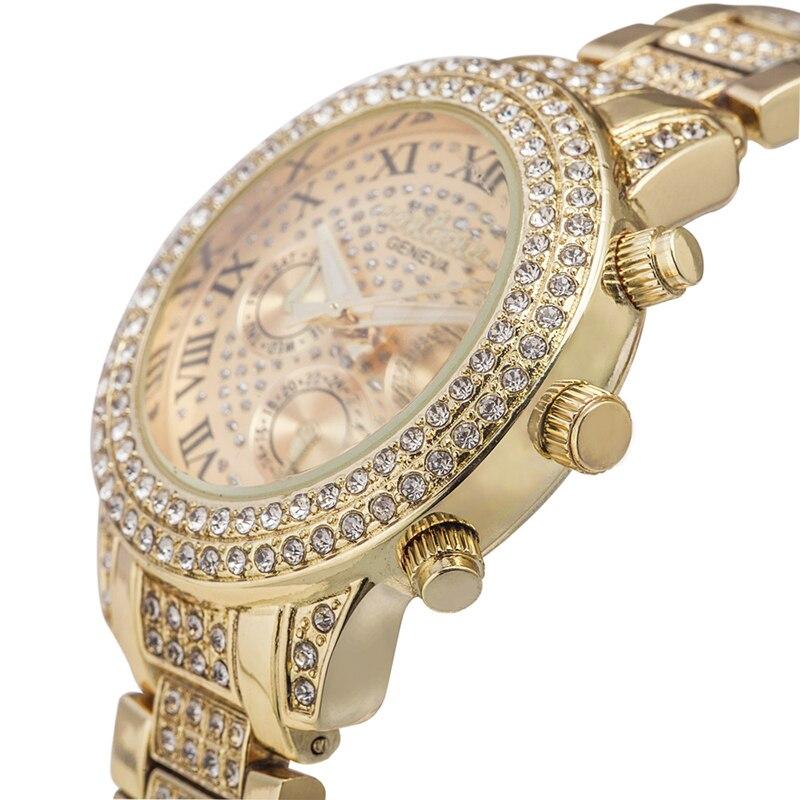 Prix pour 2017 Nouveau Mode De Luxe Marque Femmes Robe Montres Rose D'or Dames Diamant Quartz Relojios Analogique Femme Strass Montres