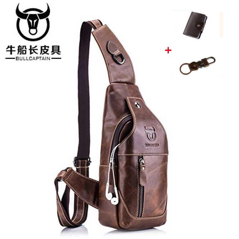 BULLCAPTAIN Sling Bag Crossbody Sacos de Peito de Couro Genuíno dos homens Ombro Corpo Cruz Bolsa Resistente À Água Anti Roubo saco do mensageiro
